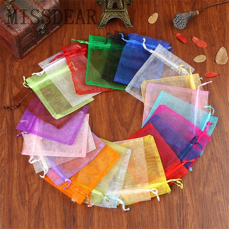 100 teile / los Multi Farben Organza Taschen 15x20 cm Drawable Schmuckbeutel Hochzeit Kosmetik Schmuck Verpackung Taschen Tüll Geschenkbeutel
