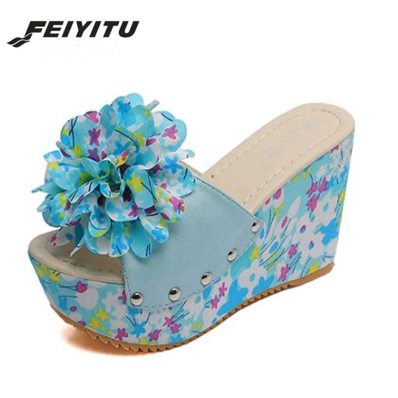 e3740eaa50e2b2 FeiYiTu 2019 Summer Female Wedges Thick Crust Muffin Slippers New Flower  Word Loose Cake Slippers High Heeled Ladies Flip Flops Slipper Dress Shoes  From ...