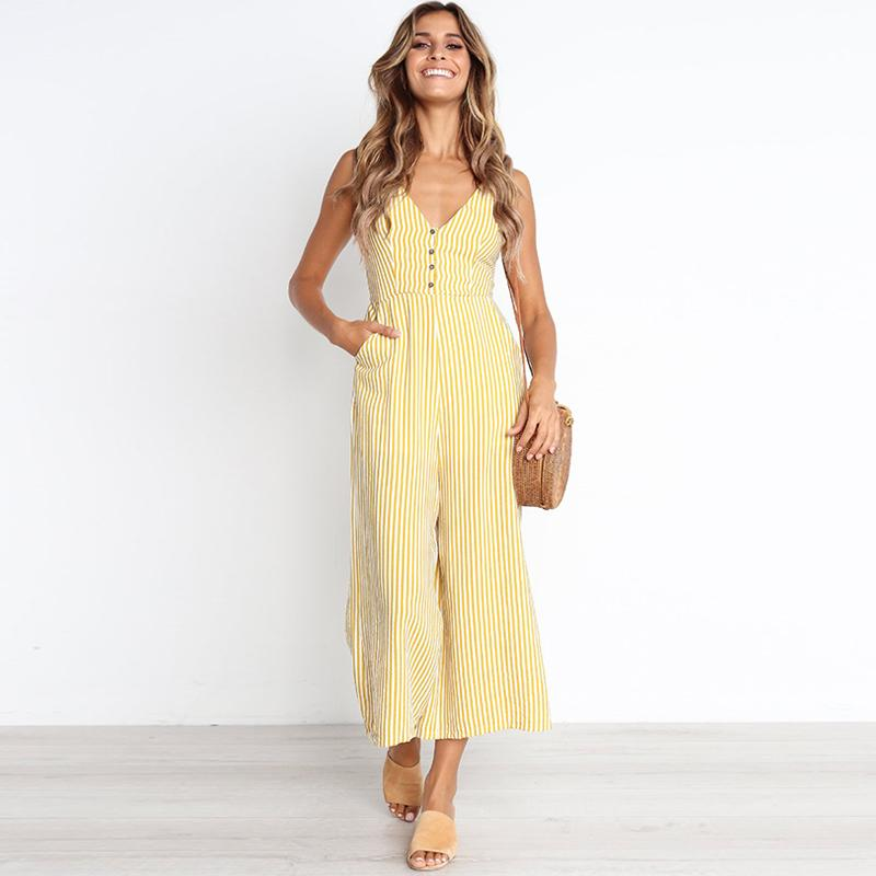 02f6266125ee 2019 Women Sexy Wide Leg Pants Sleeveless Striped Jumpsuit Palazzo Elegant  Party Evening Long Romper Strappy Button Overalls Summer From Cutelove66