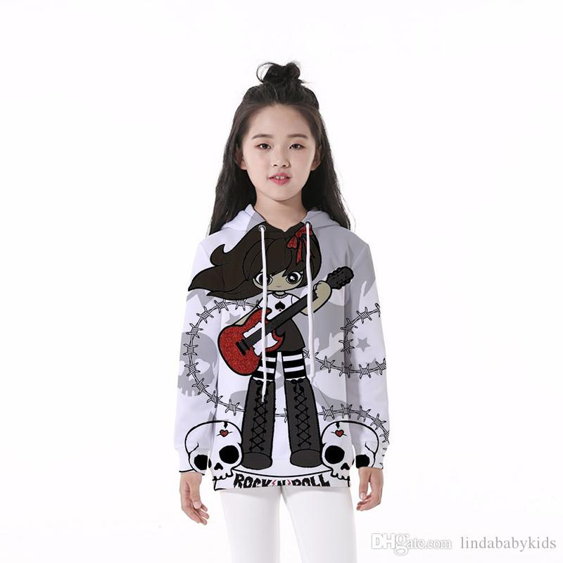 Kids Hoodie Guitar Girl Skull 3D Digital Full Printed Long Sleeves Unisex Hooded Sweatshirts Children Casual Boy Girl Hoodies (RLCLM-55117)