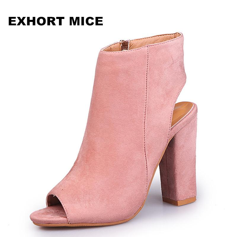47a5eeb15 2019 Fashion Women\'s Peep Toe Summer Open Toe Pumps Casual Faux Suede  Ankle Boots Thick High Heels Peep Toe Women Pumps Sandals