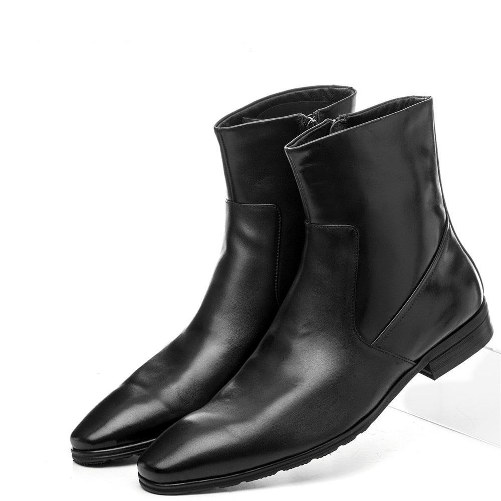 01054a51 Compre Calidad De La Moda De La Cremallera Del Dedo Del Pie Puntiagudo Negro  Para Hombre Botines Botas De Cuero Genuino Hombre Zapatos De Invierno Botas  De ...