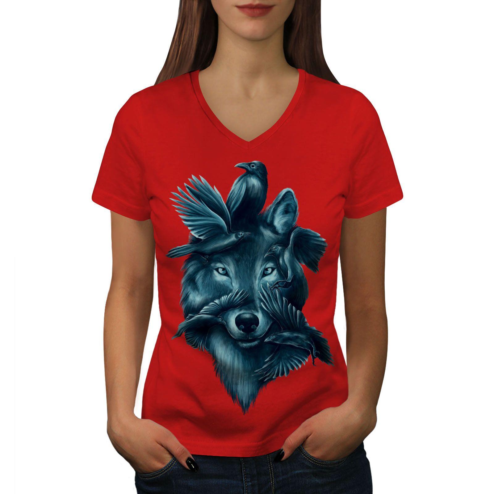 Wolf Spirit Animal Women T-shirt NEW White Black Grey Red Trousers Tshirt  RETRO VINTAGE Classic T-shirt