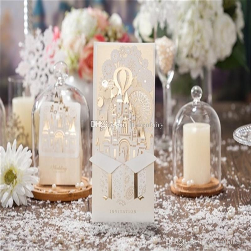 100pcs 3D Wedding Invitations Customize Laser Cutting Invitation Cards Bride and Groom Castle Wedding Favors Casamento a147-a153