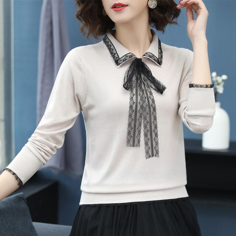 2019 female Spring Autumn Lapel tops Tees women Lace Bow Solid Color Long Sleeve T-Shirt or46