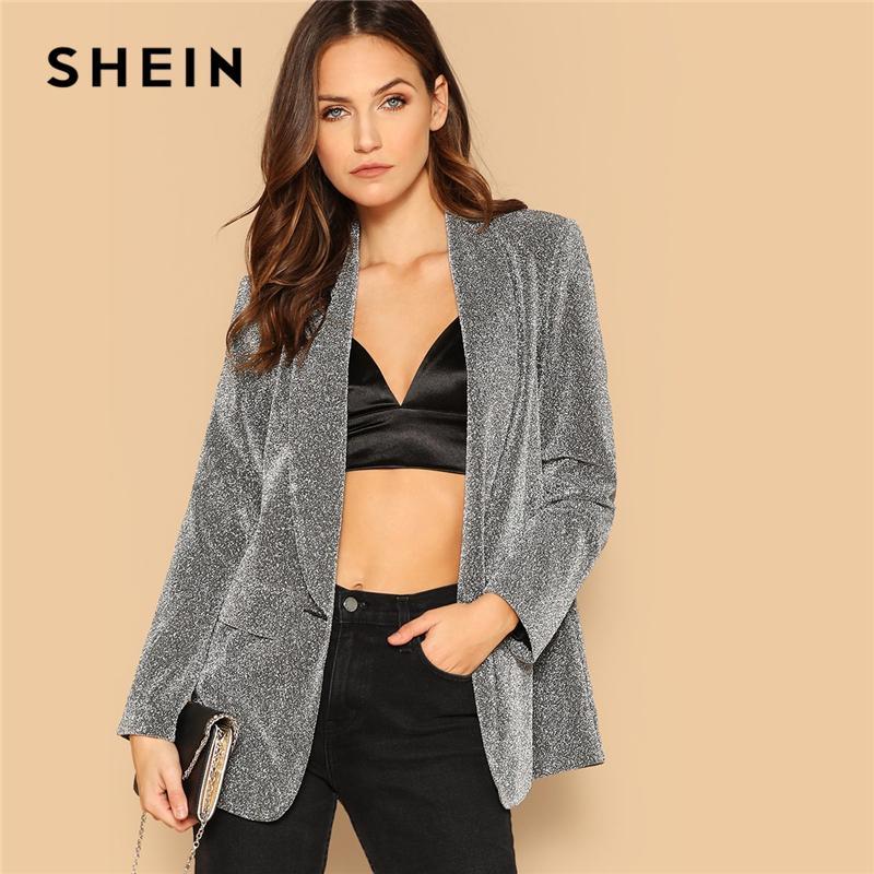 053fb0b22b 2019 SHEIN Silver Single Button Shawl Collar Glitter Split Hem Slim Blazer  Coat Women Spring Club Highstreet Workwear Outerwear Coats From Xisibeauty,  ...