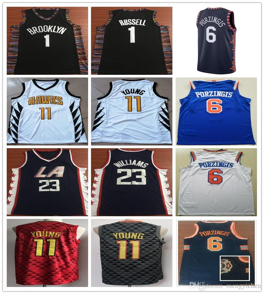 New City Edition 1 D Angelo Russell Jersey 23 Lou Williams Navy Blue ... f3993219a