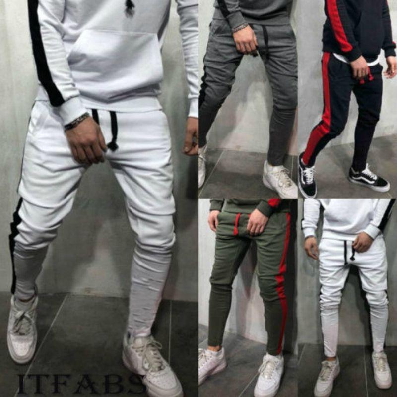 ab7495a53 Pantalones de jogger de moda para hombre 2019 Nueva raya urbana pantalones  rectos casuales delgado gimnasio pantalones largos S-2XL