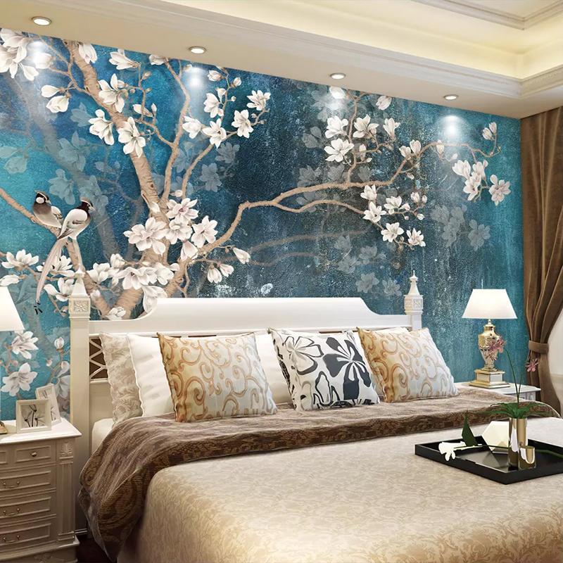 Genial Custom 3D Wall Murals Wallpaper Nordic Blue Vintage Hand Painted Flowers  Birds Oil Painting Wall Paper Bedroom Mural De Parede