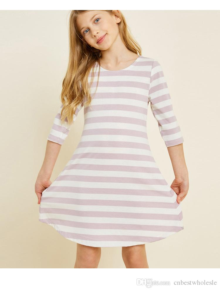 f4a4021a972 2019 Big Girl Striped Dress Spring Teenager Singlet Breasted Dress Kids  Clothing Junior Casual Half Sleeve Dress From Cnbestwholesle