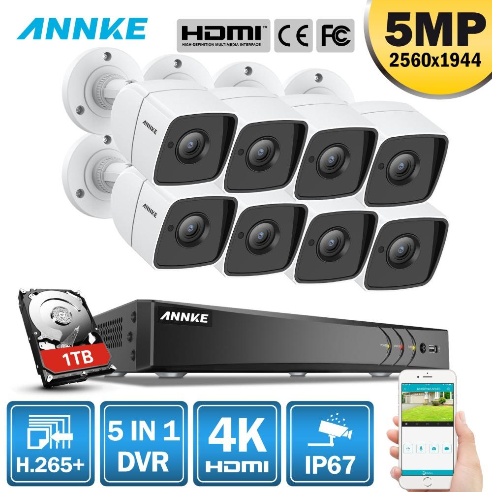 ANNKE 8CH 5MP Ultra HD CCTV Camera System 5IN1 H 265 DVR With 8PCS 5MP TVI  Weatherproof White Security Surveillance System