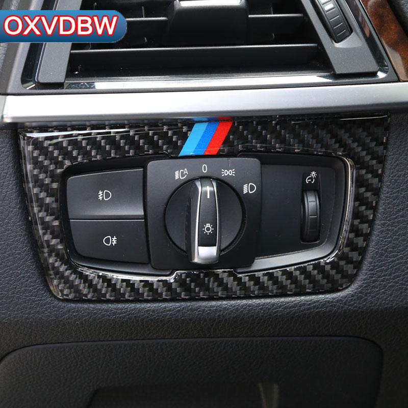 5d969688611e 2019 Carbon Fiber Headlight Switch Buttons Decorative Frame Cover Interior  Trim For BMW F30 F34 Accessories Car Styling Sticker From Youercar