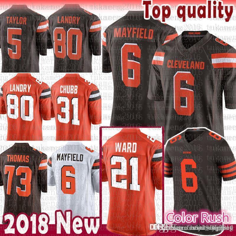 9dacf157b 2019 Cleveland 6 Baker Mayfield Browns 21 Denzel Ward Jersey 80 Jarvis  Landry 95 Myles Garrett 73 Joe Thomas 22 Jabrill Peppers Color Rush From ...