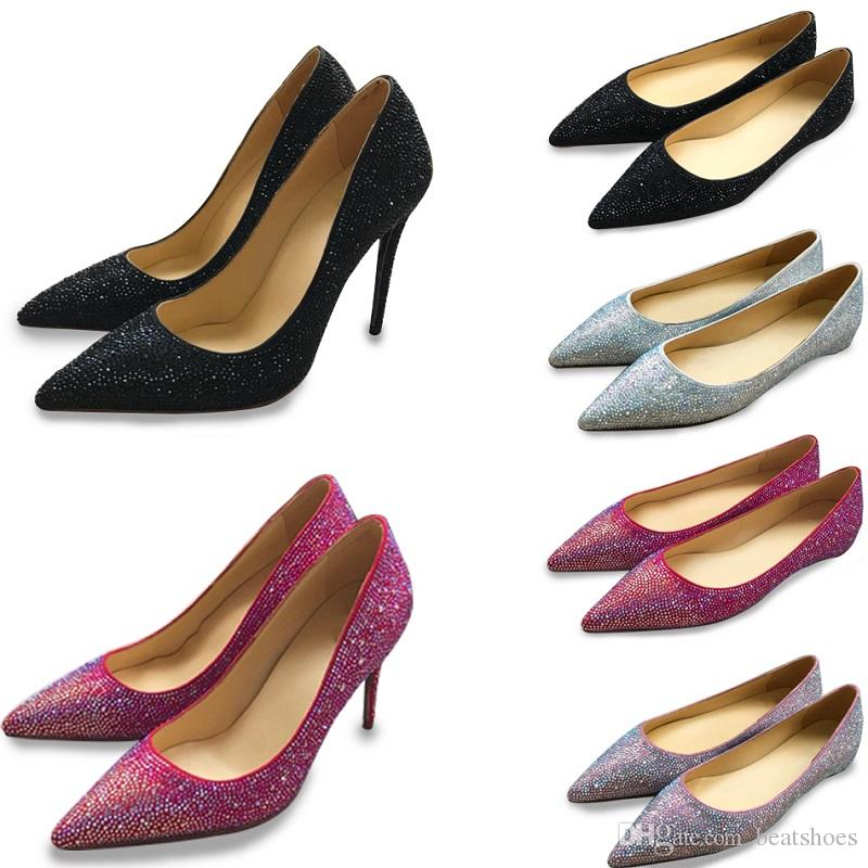 ebda7c5679e0 Red Bottom Designer Women High Heels Shoes Real Leather Luxury Brand  Crystal Pointed Toe Pumps 8cm Wedding Shoes Party Dress Shoes SZ 35 40 Womens  Shoes ...