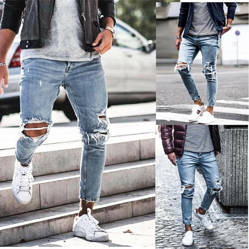 bab8904e667dc2 Compre Movimiento Personalidad Modelos De Explosión Pantalones Ajustados  Four Seasons Para Hombres Agujero Pantalones Para Hombres Pies De Hombres  ...