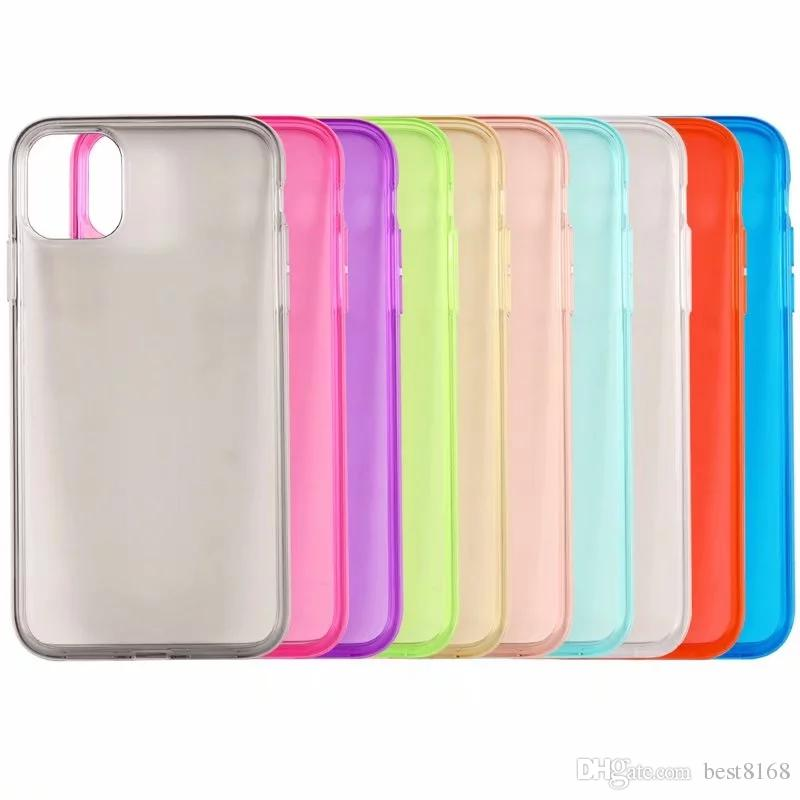Glossy Soft TPU Case For Iphone 6.1 6.5 5.8 inch 2019 XR XS MAX XS Covers Crystal Silicone Fashion Colorful Clear Phone Rubber Back Skins