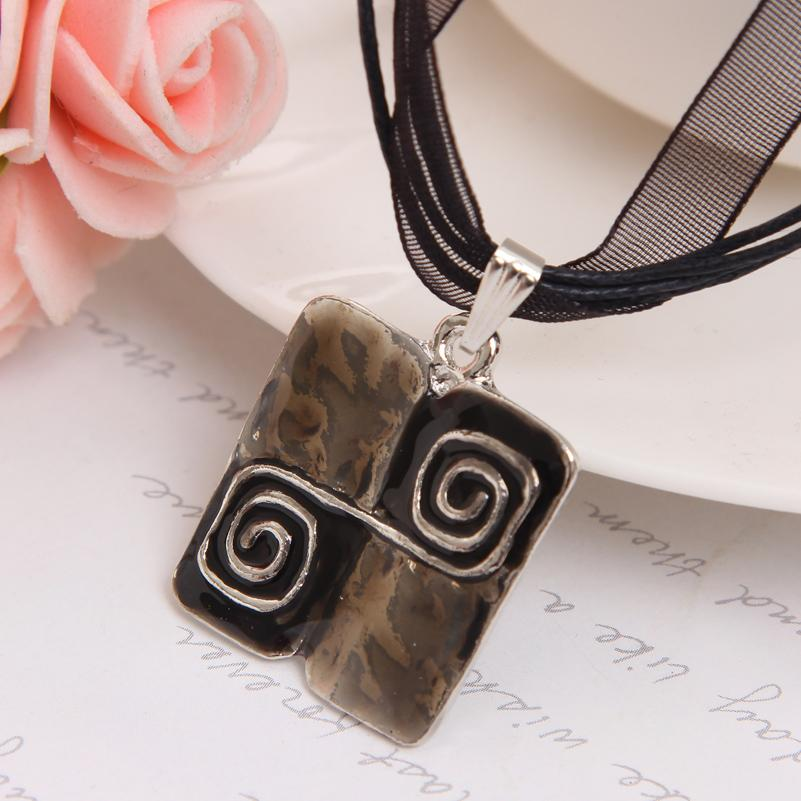Black Rope Necklace For Female New Design Square Pendant Accessory Classic Wedding Jewelry Set