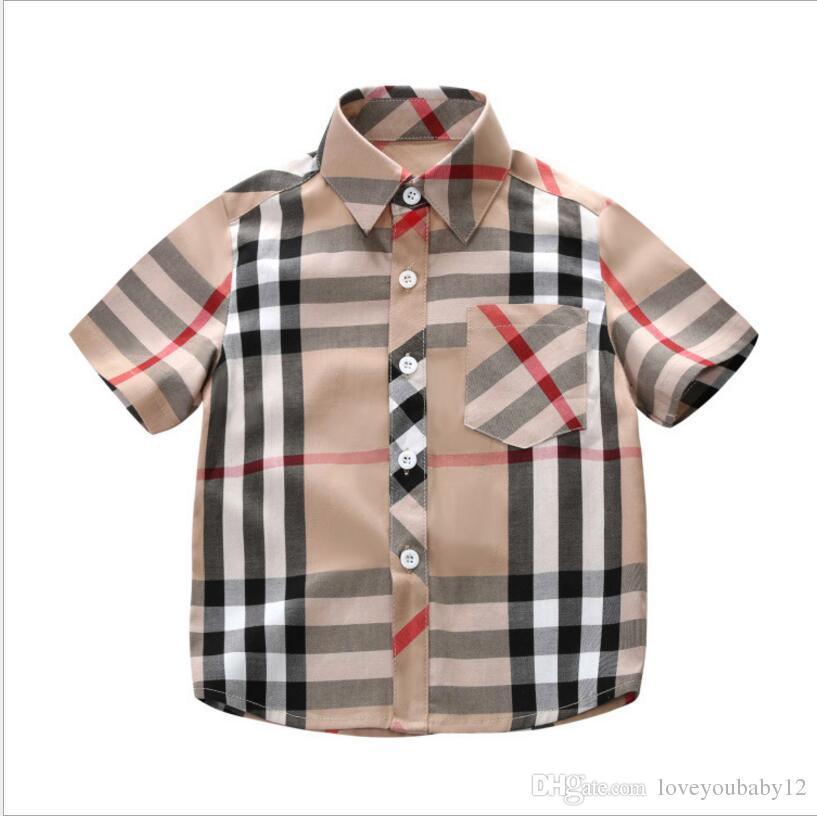 eca74ff45f7 Children Short Sleeve T-shirt Kindergarten Kids Boy Girl POLOS Parent-child  Polo Shirt Customize Print Lattice Color Summer Shirt Top Tees Kids Sleeve  Shirt ...