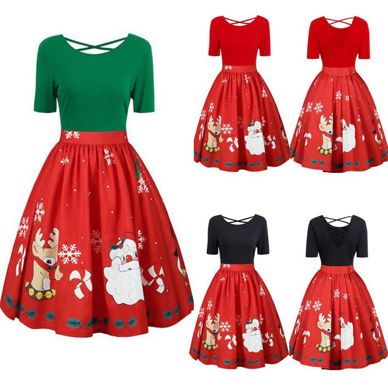 Plus Size Christmas Dress Women A Line Christmas Santa Short Sleeve Party  Ball Dress Clothes