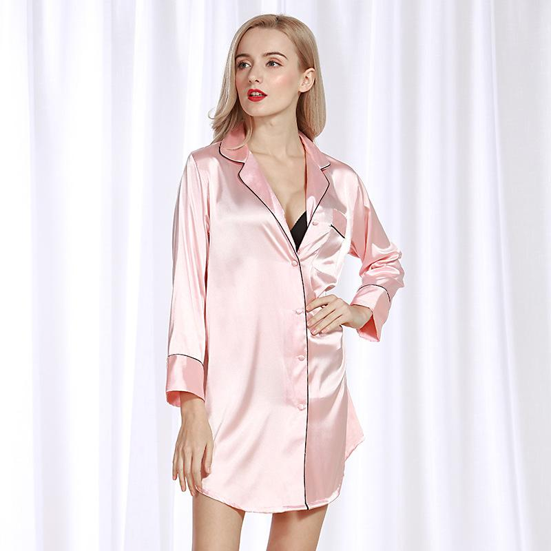 2394ba89e2e9 2019 Simulation Silk Sexy Lady Nightdress Summer Silk Shirt Female ...