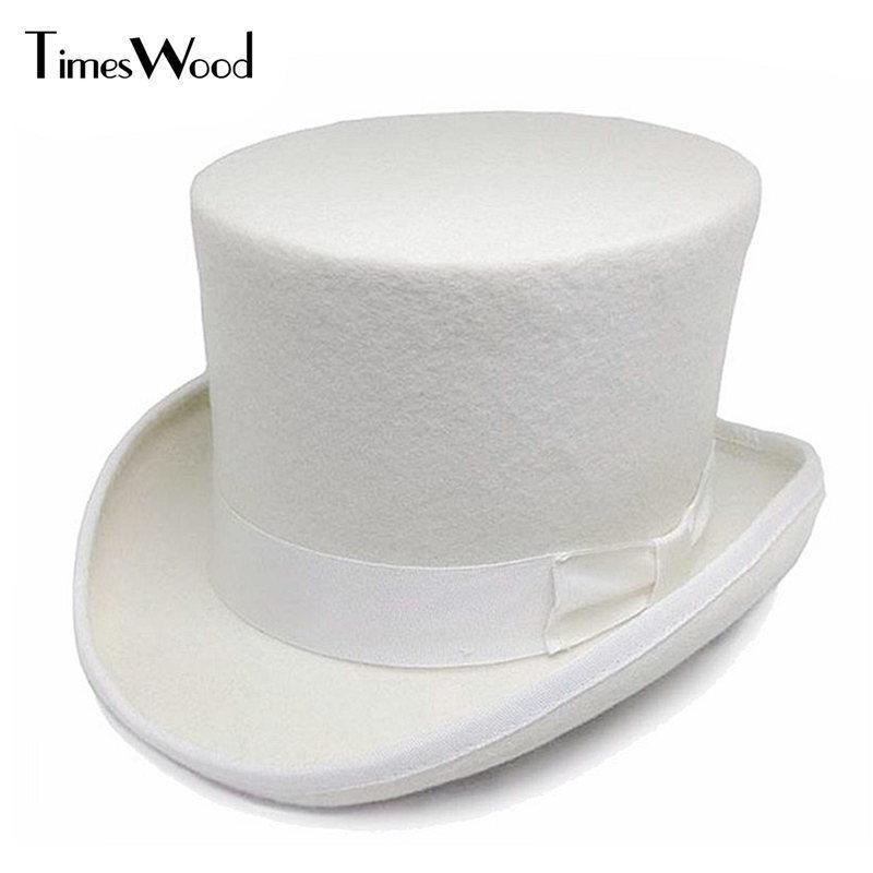 8fb072f72ae07 13.5cm Height White Wool Top Hats Mens Women Chapeau Fedora Magician Felt  Party Church Caps Fedoras Vintage Apka Dropshipping D19011102