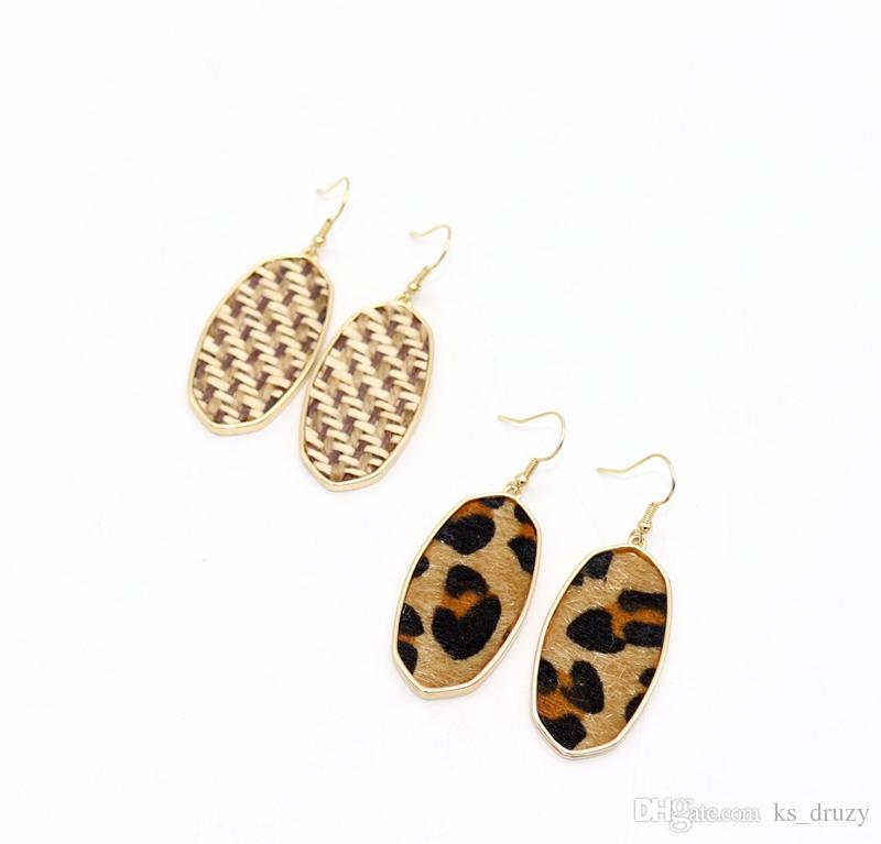 Bohemia Straw Leopard Print Braided Hexagon Charms Earrings Geometry Dangle Earrings Best for Lady Kendra Jewelry