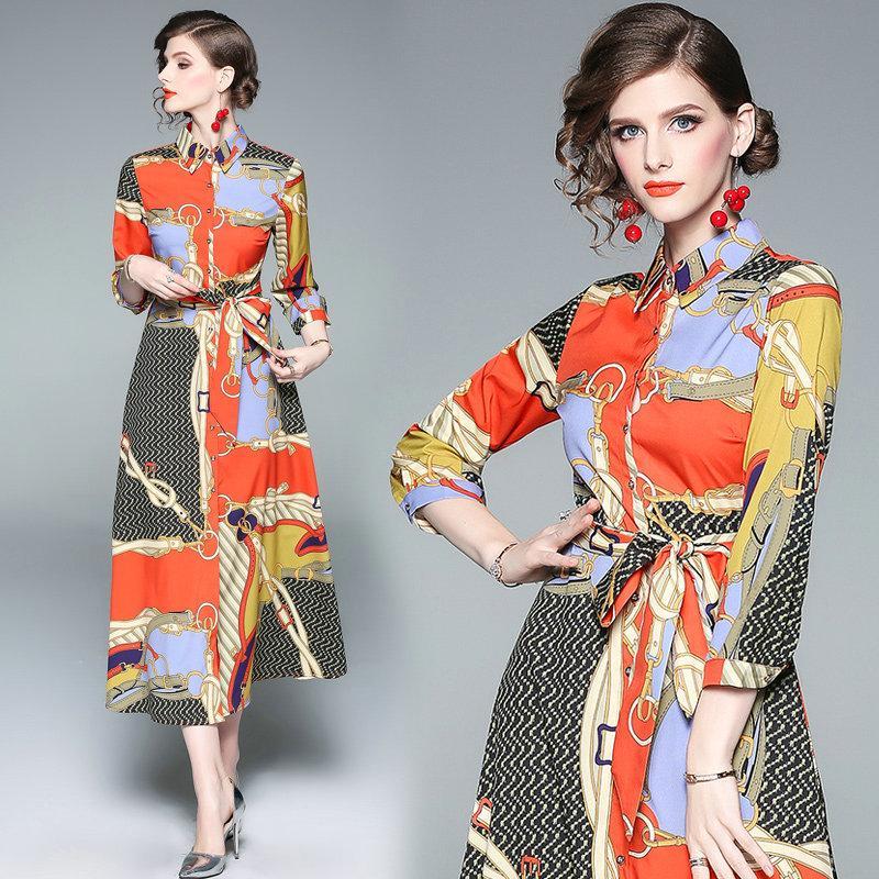 0b6bd9de732c2 Satın Al Moda Yeni Baskılı 2/3 Kollu Bayan Elbise Yaka Gömlek Elbise ...