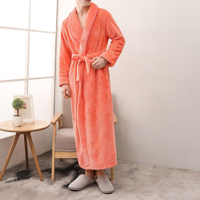 1ef9035b14 Couple Belted Women S Robes Soft Coral Fleece Warm Long Bathrobe Plush  Kimono Sleepwear Nightgown Winter Spa Robe With Pocket UK 2019 From  Clothfirst
