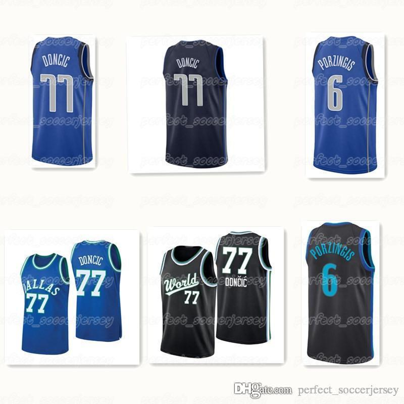 outlet store 5f6a2 0a229 new city Best Sellers Dallas men Mavericks Luka 77 Doncic Kristaps 6  Porzingis Retro basketball embroidered Jersey logo S-XXL