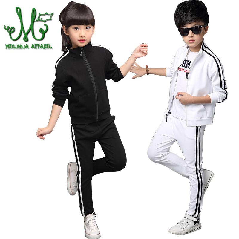 bc6857178e5 2019 4 16 Years Boys Girls Sportswear Kids Zipper Clothing Set Spring   Autumn Solid Stripe Student Tracksuits Girls Sports From Ys shop