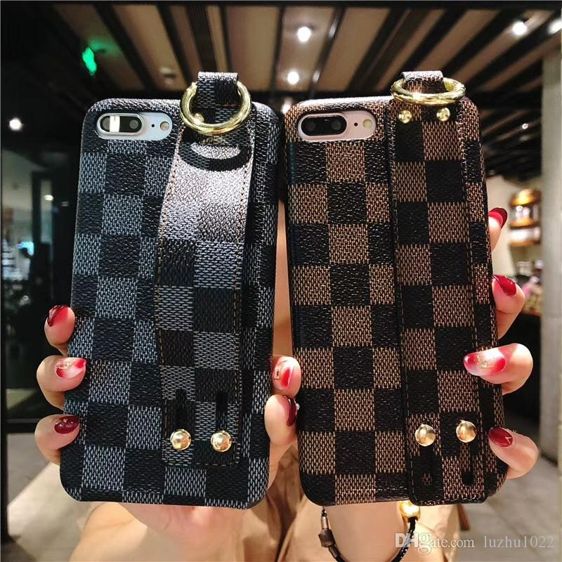 Famous Brand Square Lattice Wristband Bracelet Leather Back Cover Wrist Phone Shell Holster Key Buckle for iPhone X XS MAX XR 6 6s 7 8 Plus