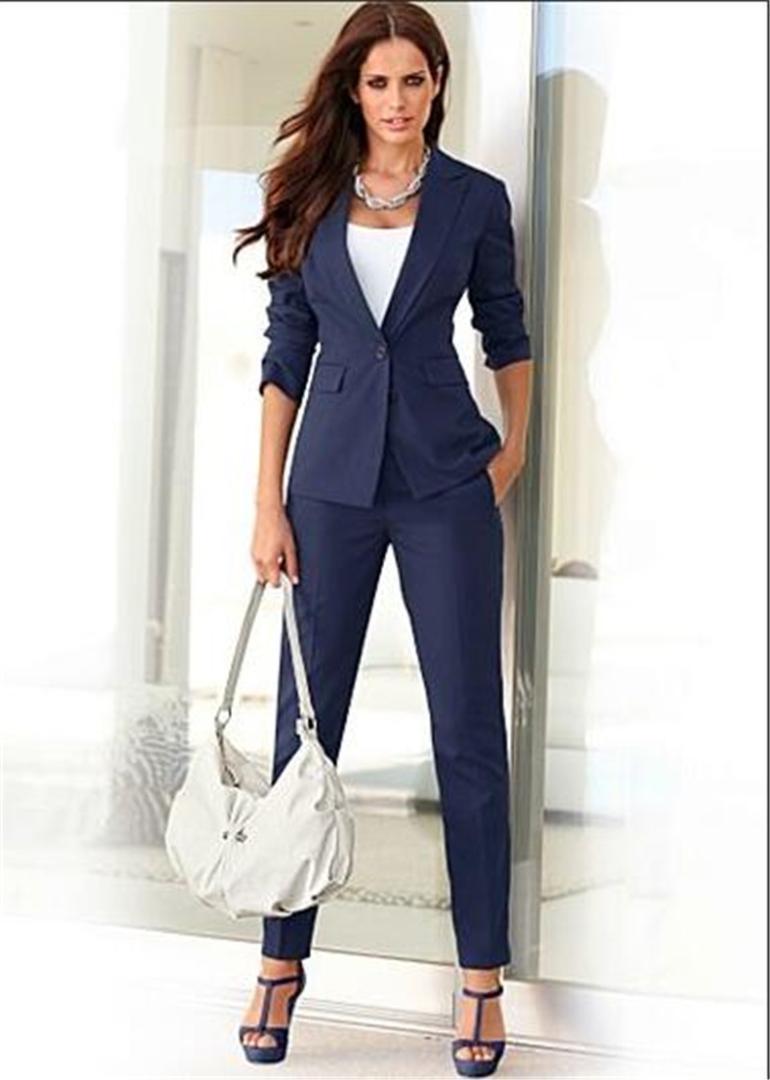 Por Negocios Formal Damas Womens Ropa Oficina Smokinges Encargo Marino Azul Mujer Pantalón Trabajo Trajes Formales De dCtrxhsQ