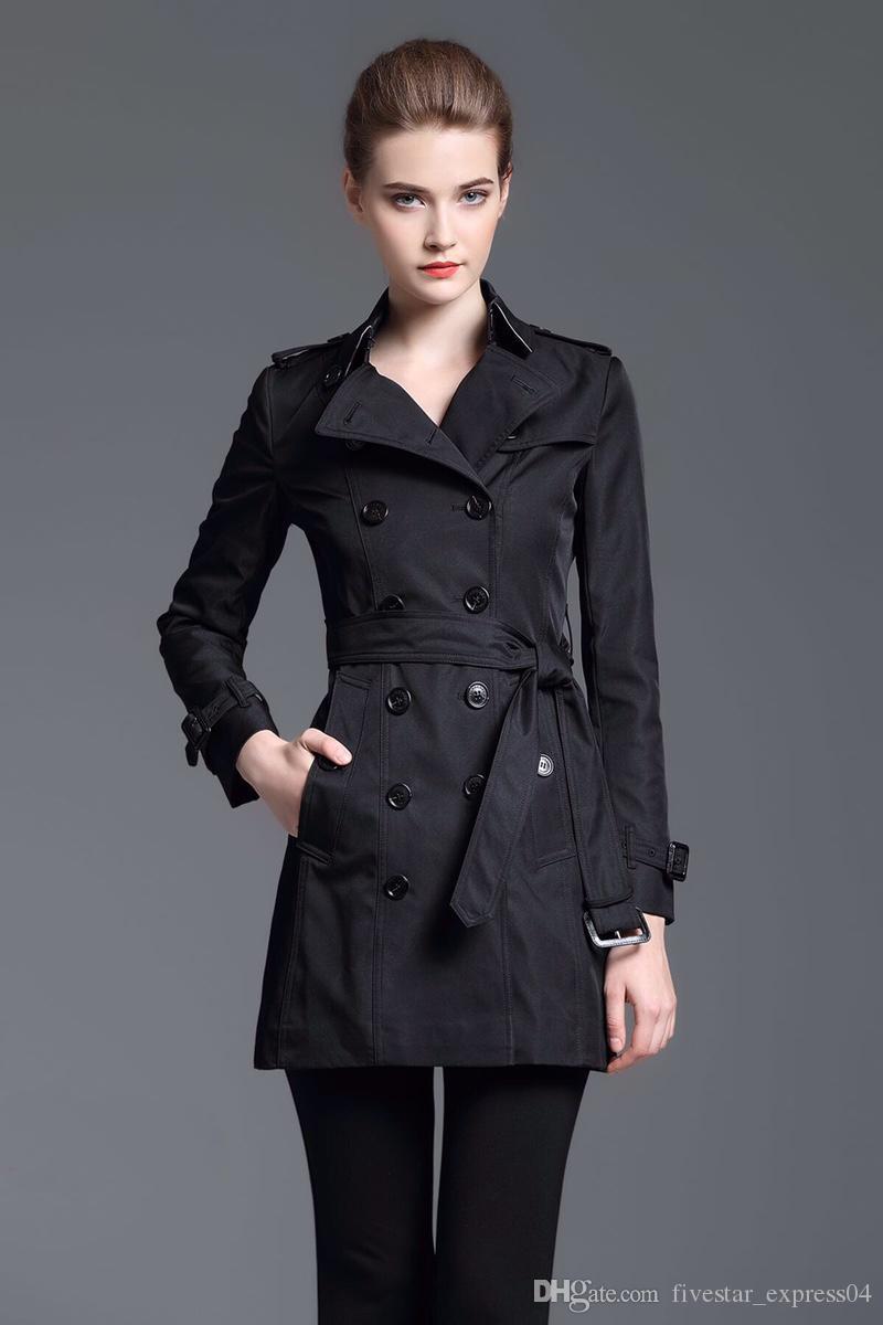 Brasão For Women Abotoamento Slim Fit Primavera Inglaterra Sólidos Coats Outono cercado clássico jaqueta preta desconto Londres Brit Longo Trench