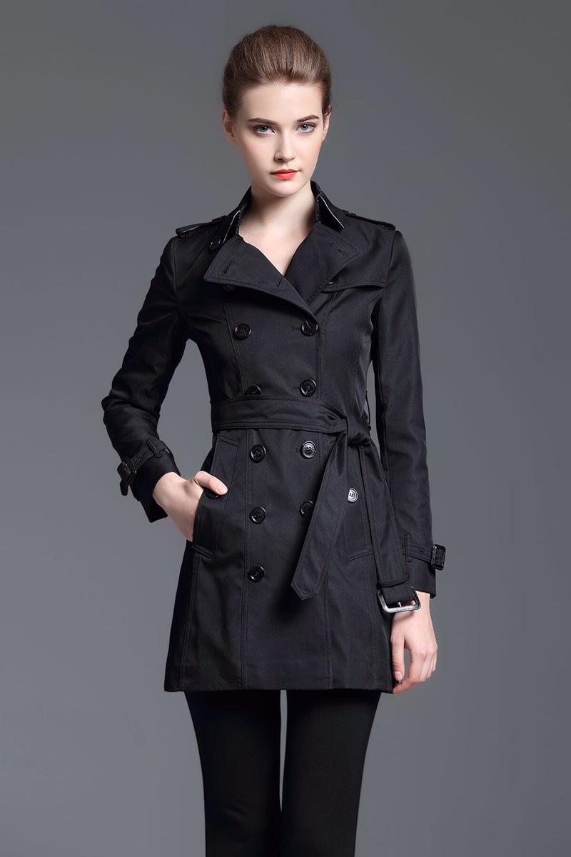 Escudo para las mujeres doble de pecho Slim Fit primavera Inglaterra sólido abrigos con cinturón de Otoño Clásico Negro de la chaqueta de descuento Londres Brit zanja larga