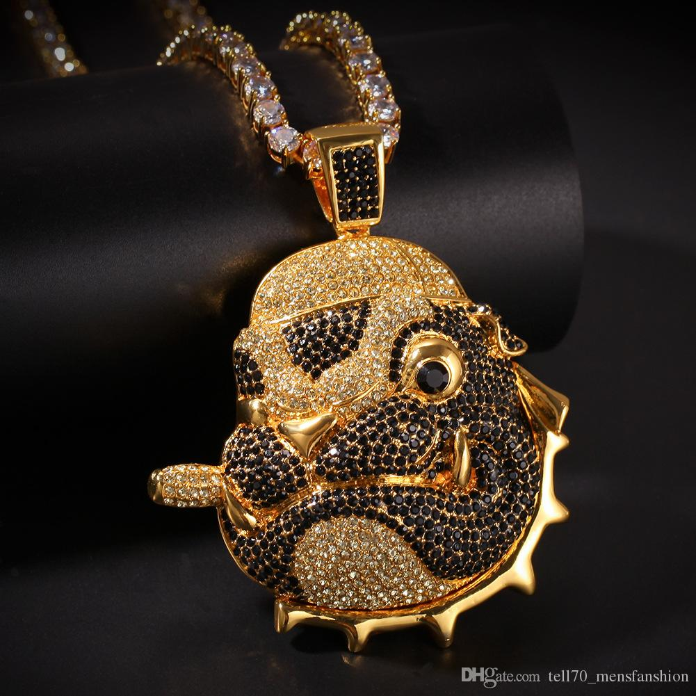 Wholesale Smoking Pug Gold Silver Pendant Alloy Rhinestone Hip Hop