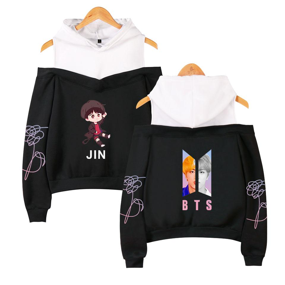 2018 BTS Member album Love Yourself Answer K-pop women's Bangtan Boys hooded off-shoulder Hoodies sweatshirts