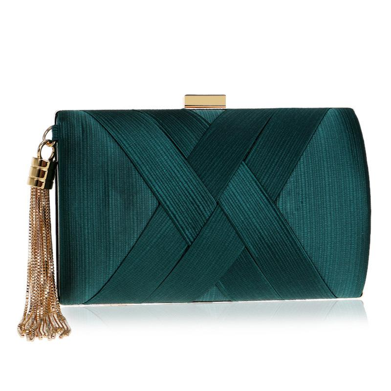2019 Fashion Temperament Tassel Dinner Bag Female European And American Silk Banquet Evening Bag Convenient Dress Clutch
