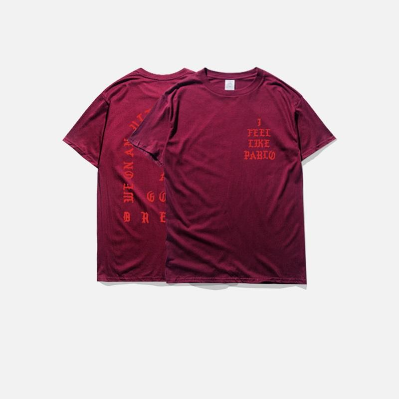 men's t-shirts summer i feel like pablo Tee short Sleeve O-neck T-Shirt Kanye West Letter Print casual tees male clothing plus size 3XL