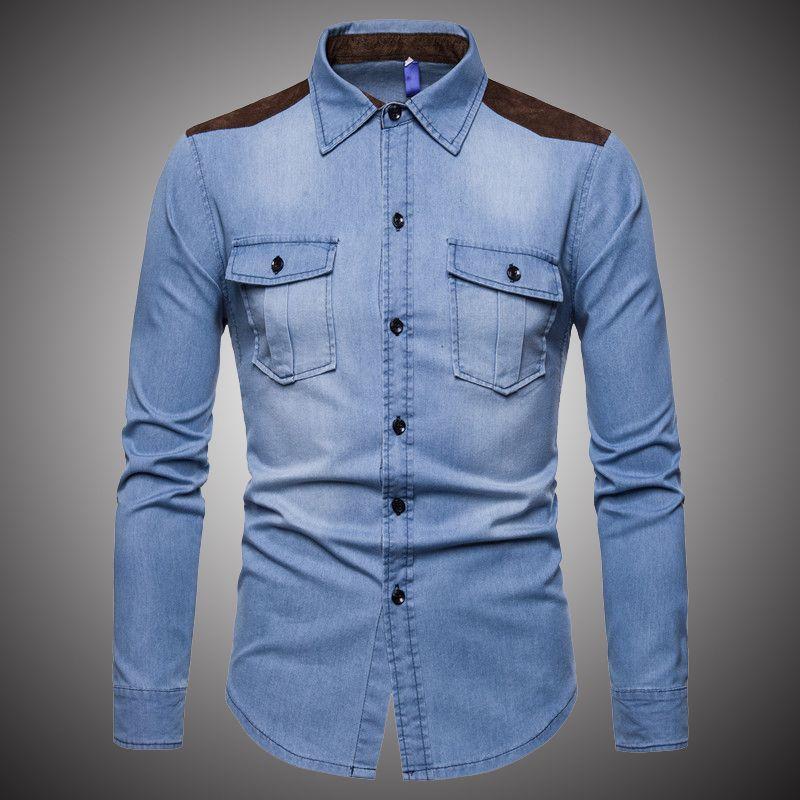 97a3097f045 2019 Denim Shirt Men Turn Down Collar Jeans Shirts Mens Long Sleeve Slim  Fit Casual Shirt Cotton 2019 Spring Fashion Mens Tops HA014 From Wayoff