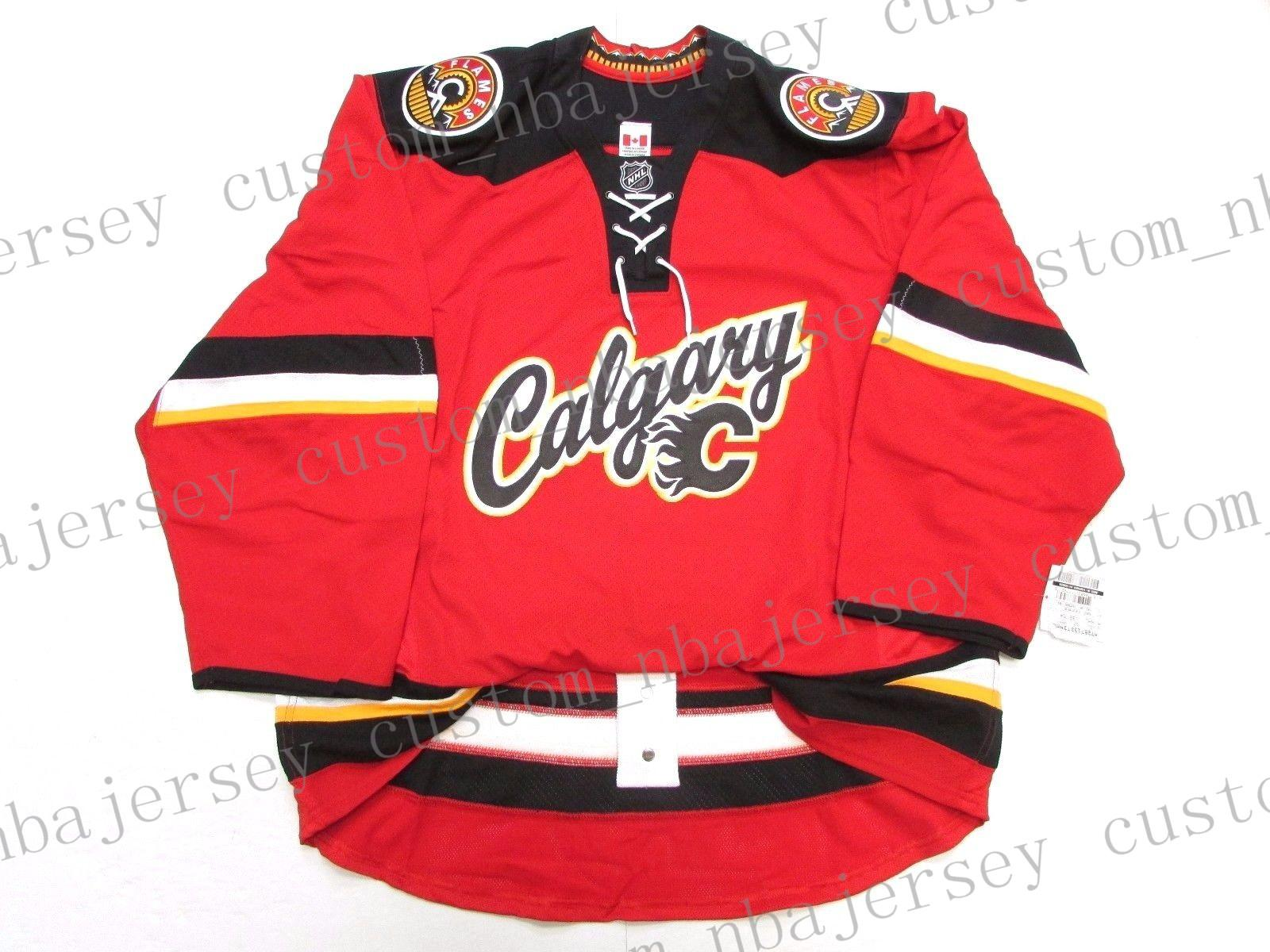 more photos 1e2fb 59c69 Cheap custom CALGARY FLAMES THIRD TEAM ISSUED JERSEY stitch add any number  any name Mens Hockey Jersey XS-5XL