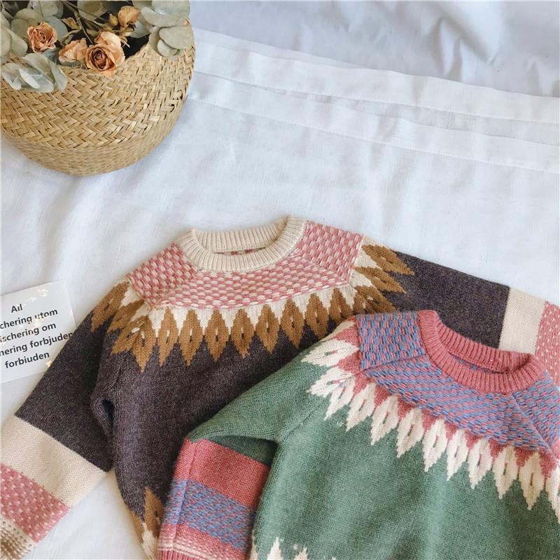 8d5bebdbf 2019 Winter Kids Cotton Sweater Boys Girls Pullover Plaid Christmas Fashion  Baby Clothes Children Knitting Shirts Long Sleeve Kids Woolen Sweater Design  ...