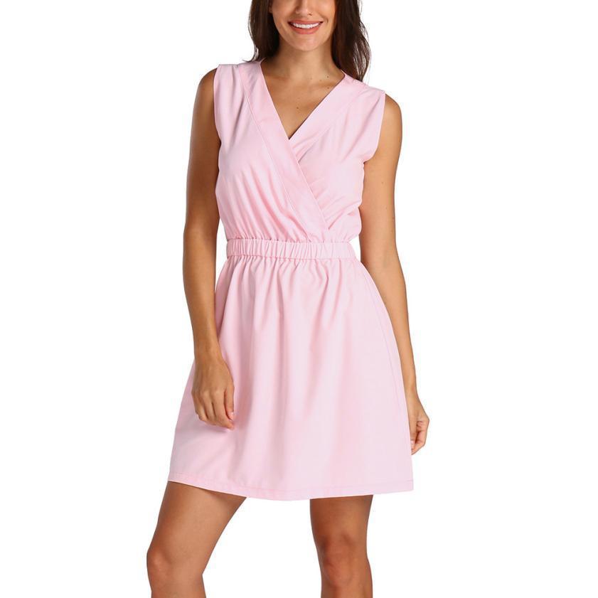 8e3cbe92671 Women S Solid Elegant Dress Summer Sleeveless V Neck Shift Dresses Ladies  Summer Casual Dress  10 Beaded Dresses Ball Dress From Your10