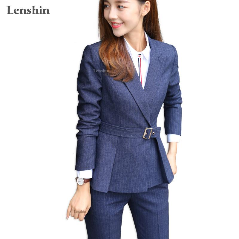 wholesale 2 Pieces Set High-quality Soft and Comfortable Striped Pant Suit Office Lady Formal Business Design Women Work
