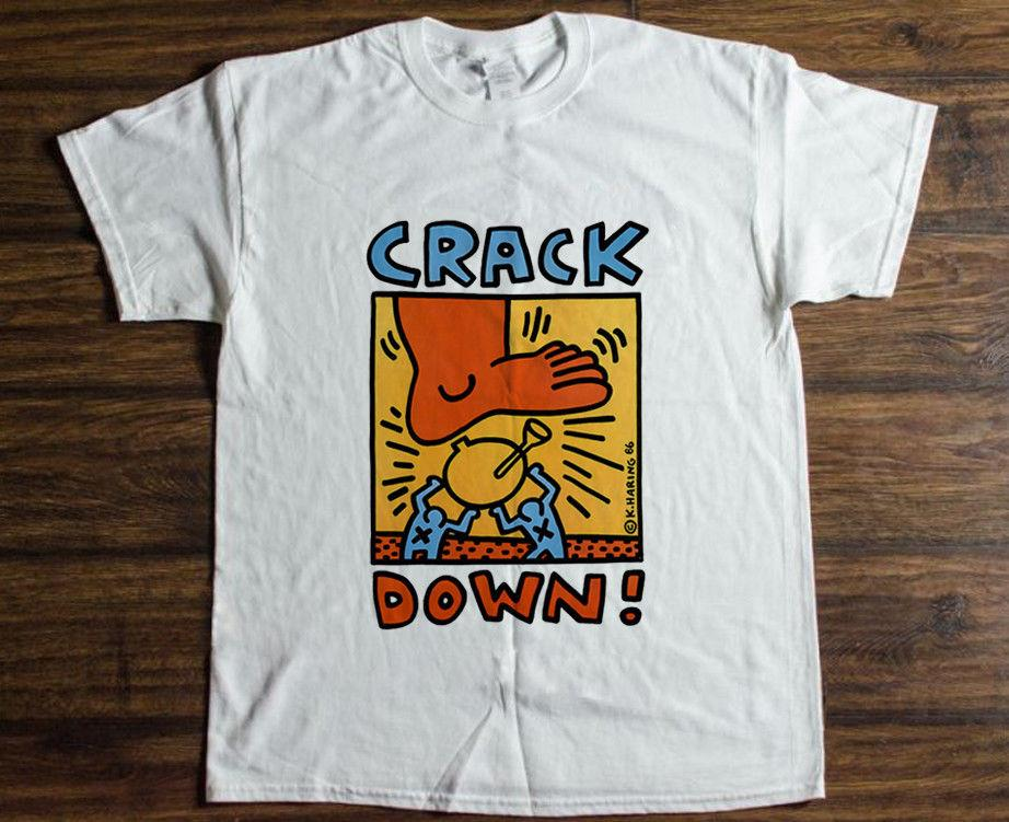 6aef85e1e Vintage T Shirt KEITH HARING Crack Down Reprint Size S 5XL White Black Grey  Red Trousers Tshirt Best Funny T Shirts Really Cool T Shirts From  Twofulcup