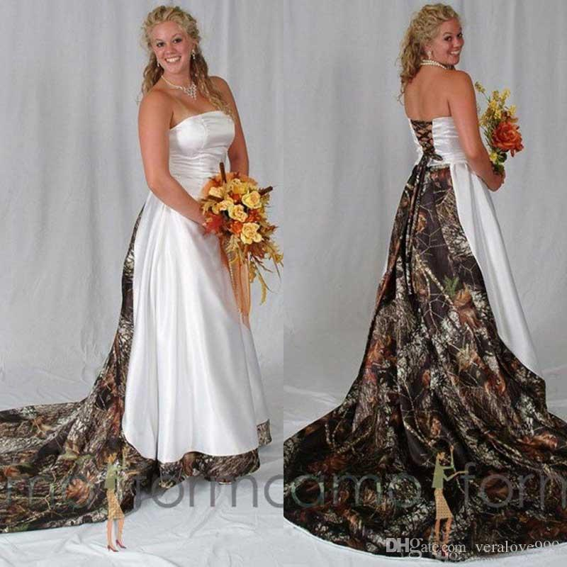 Vintage Plus Size Camo Wedding Dresses Bridal Gowns Strapless Lace-up Back Sweep Train A Line Custom Made Satin Wedding Dresses