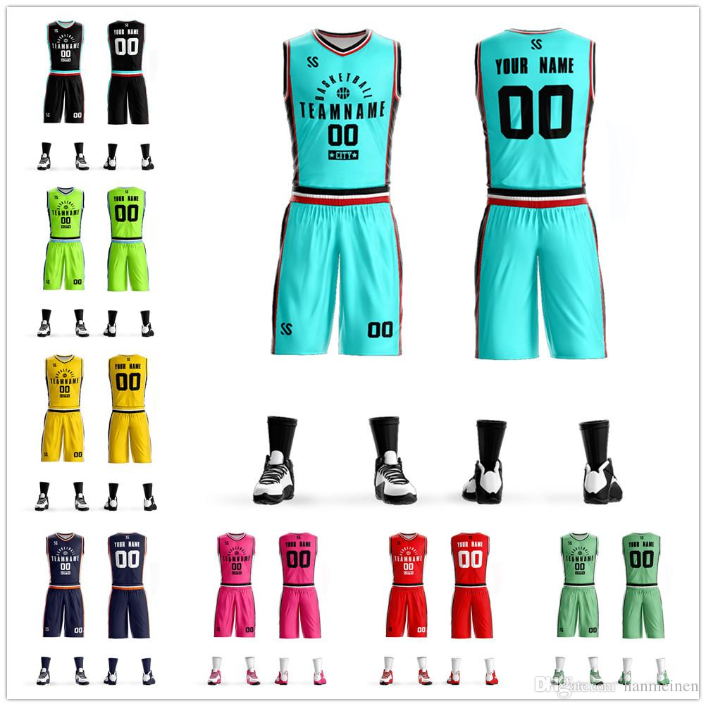439a09249b56 2019 New Adult Custom Basketball Jersey Set Uniforms Kits Men College  Students Trend Sports Clothing Game