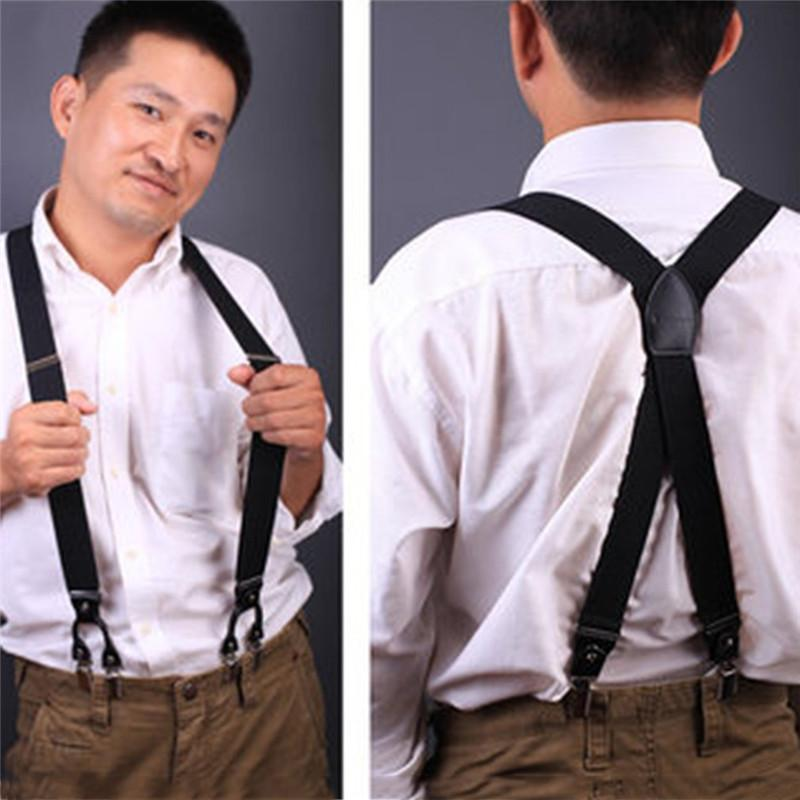 Leather Suspenders Leather Pants-Carrier with Clips Braces Leather Leather