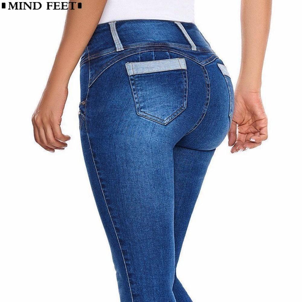 Cremalleras Mind Sexy Cintura Caderas Las De Vaqueros Bodycon Pantalones Alta Push Feet Mezclilla Flaco Estirar Up Mujer Yf6vIyb7g