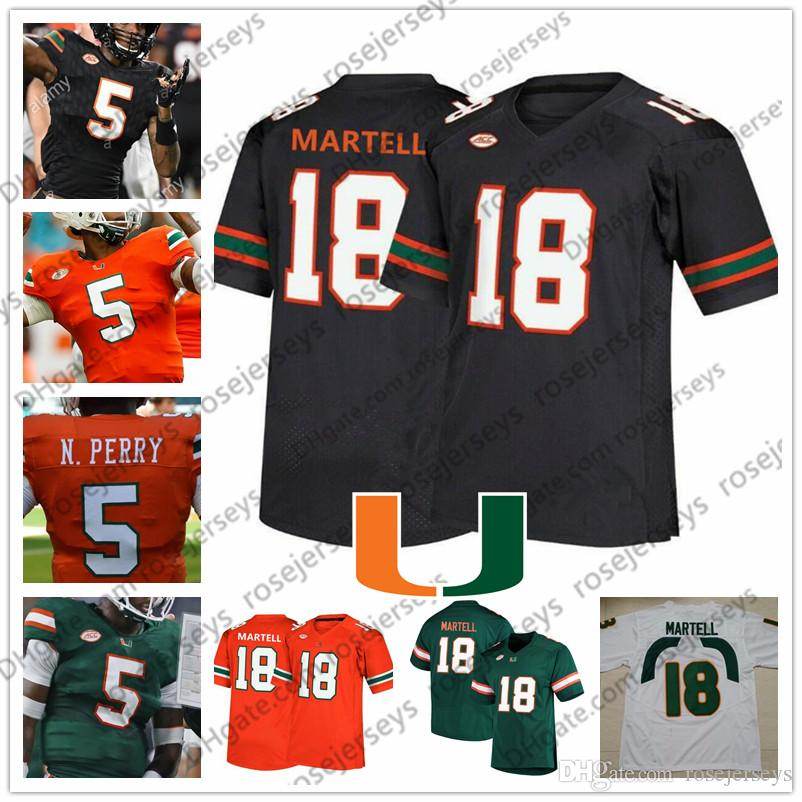 2019 uragani # 3 Mike Harley 29 Jimmy Murphy 81 Larry Hodges Verde Arancione Nero Bianco College Football Jersey