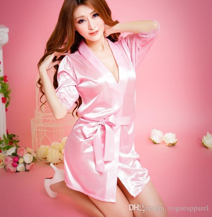 ae98946608 Cool Ice Silk Sleepwear Women Fashion Classic Bathrobe Pure Role-playing Sexy  Lingerie Wild Temptation Bathrobe Pure Sleepwear Ice Silk Sleepwear Woman  Soft ...